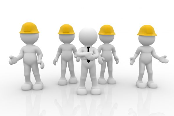 3d people - human character, person in group with helmet( businessman and workers ). Leadership and team. 3d render